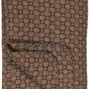 Quilt sort m/blomstermønster i rustfarver