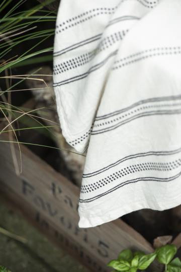 Viskestykke natur m/sort vævet mønster, der består af 100 % bomuld. Dejligt viskestykke, der pynter i køkkenet. Viskestykke natur m/sort vævet mønster tæppet måler 50 cm i bredden og 70 cm i længden.