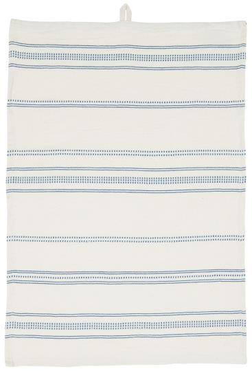 Viskestykke natur m/blåt vævet mønster